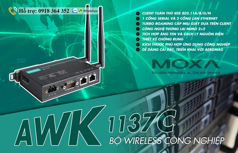 AWK-1137C-EU: Bộ Wireless Công Nghiệp giá rẻ nhất, Đại Lý Moxa Việt Nam