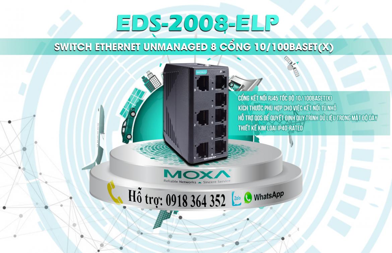 EDS-2008-ELP: Switch chuyển mạch công nghiệp 8 cổng giá rẻ, Đại lý Moxa Việt Nam
