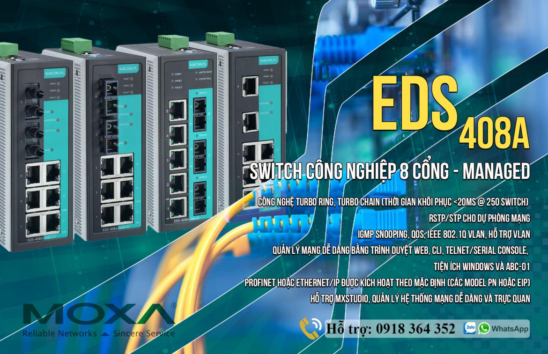 EDS-408A: Switch chuyển mạch công nghiệp 8 cổng giá rẻ, Đại lý Moxa Việt Nam