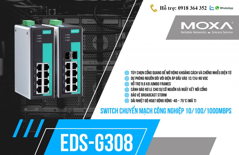 EDS-G308: Switch chuyển mạch công nghiệp 10/100/1000Mbps giá rẻ, Đại lý Moxa Việt Nam