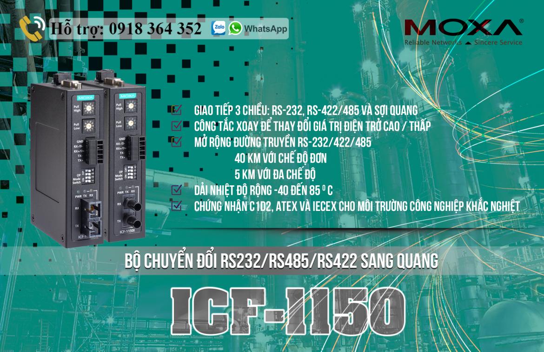 ICF-1150I-M-ST-T: Bộ chuyển đổi cổng nối tiếp RS232/485/422 sang quang giá rẻ, Đại lý Moxa Việt Nam
