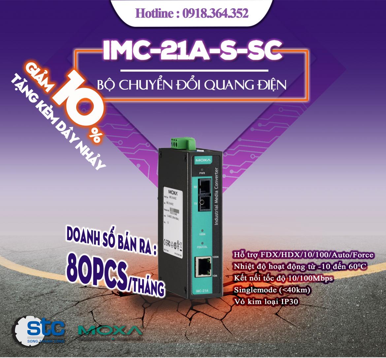 IMC-21A-S-SC: Bộ chuyển đổi quang điện 10/100Mbps Moxa giá rẻ, Đại lý Moxa Việt Nam