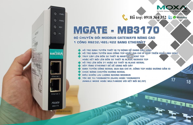 Mgate MB3170: Bộ chuyển đổi giao thức 1 cổng Modbus RTU(RS232/485/422) sang Modbus TCP giá rẻ, Đại Lý Moxa Việt Nam