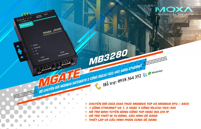 Mgate MB3280: Bộ chuyển đổi giao thức 2 cổng Modbus RTU(RS232/485/422) sang Modbus TCP giá rẻ, Đại Lý Moxa Việt Nam