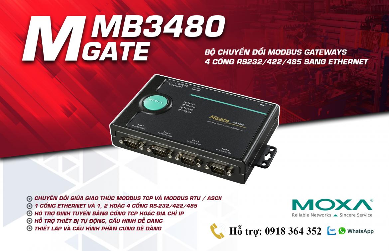 Mgate MB3480: Bộ chuyển đổi giao thức 4 cổng Modbus RTU(RS232/485/422) sang Modbus TCP giá rẻ, Đại Lý Moxa Việt Nam