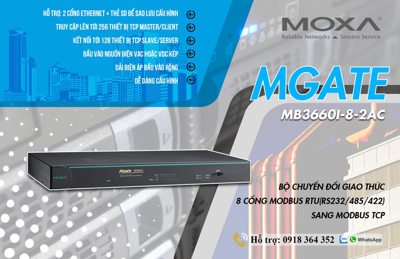 Mgate MB3660I-8-2AC: Bộ chuyển đổi giao thức 8 cổng Modbus RTU(RS232/485/422) sang Modbus TCP giá rẻ, Đại Lý Moxa Việt Nam