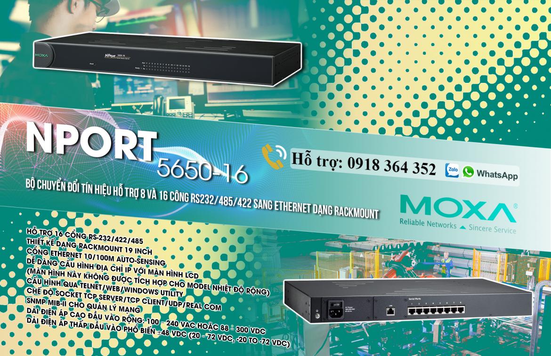 Nport 5650-16: Bộ chuyển đổi 1 cổng Ethernet sang 8 cổng nối tiếp RS232/485/422, Đại lý Moxa Việt Nam