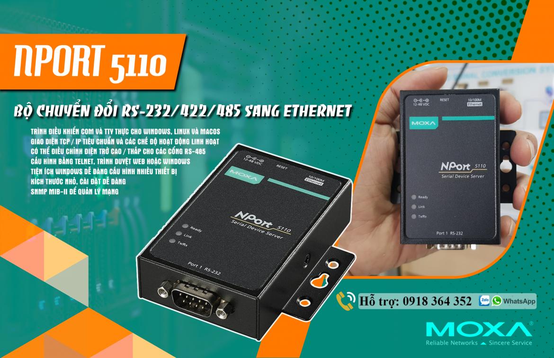 Nport 5110: Bộ chuyển đổi 1 cổng Ethernet sang 1 cổng nối tiếp RS232 giá rẻ, Đại Lý Moxa Việt Nam
