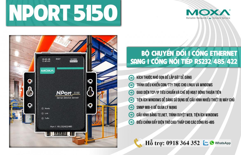 Nport 5150: Bộ chuyển đổi 1 cổng Ethernet sang 1 cổng nối tiếp RS232/485/422 giá rẻ, Đại Lý Moxa Việt Nam