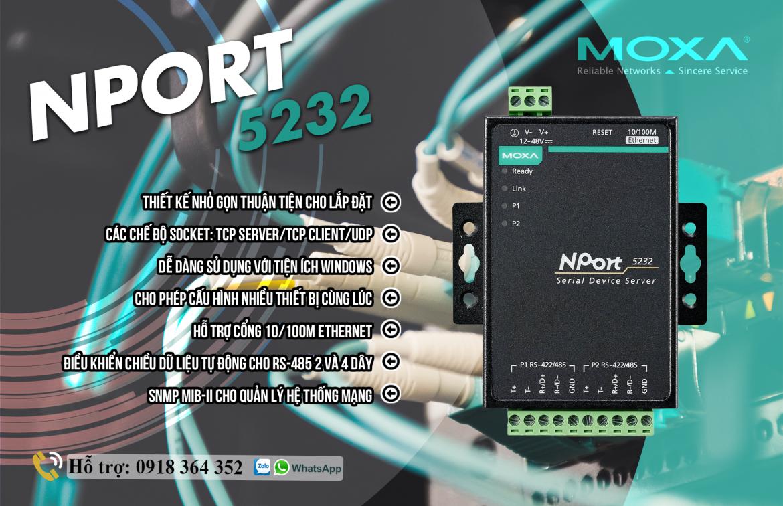 Nport 5232: Bộ chuyển đổi 1 cổng Ethernet sang 2 cổng nối tiếp RS485/422, Đại Lý Moxa Việt Nam