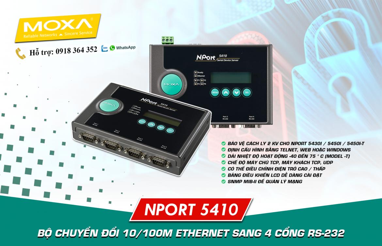 NPort 5410: Bộ chuyển đổi 1 cổng Ethernet sang 4 cổng nối tiếp RS232, Đại Lý Moxa Việt Nam