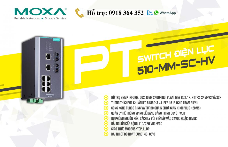 PT-510-MM-SC-HV: Switch điện lực giá tốt, Đại lý Moxa Việt Nam