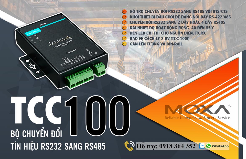 TCC-100: Bộ chuyển đổi tín hiệu RS232 sang RS485 giá rẻ, Đại Lý Moxa Việt Nam