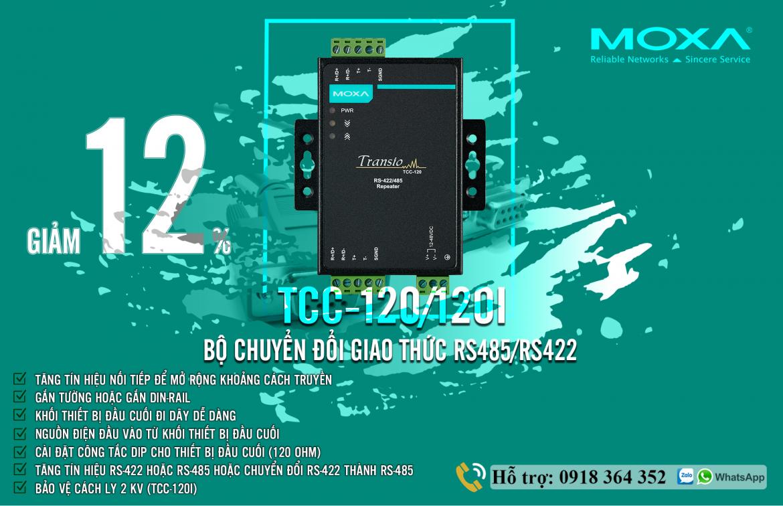 TCC-120I: Bộ lặp tín hiệu nối tiếp RS485/422 giá rẻ, Đại Lý Moxa Việt Nam