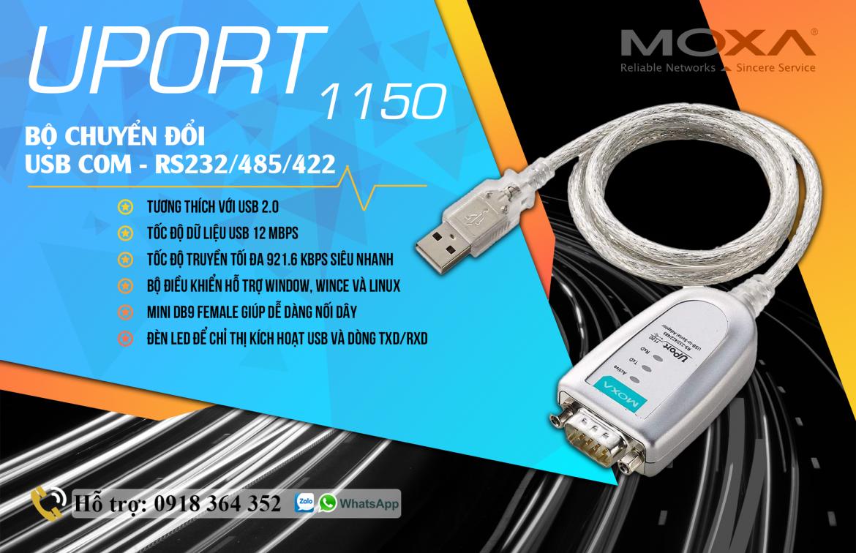 Uport 1150: Bộ chuyển đổi USB COM – RS232/485/422 công nghiệp giá rẻ Moxa, Đại Lý Moxa Việt Nam
