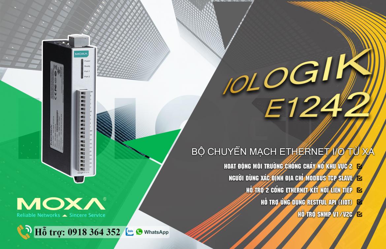 ioLogik E1242: Bộ IO công nghiệp 2 cổng Ethernet giá rẻ, Đại Lý Moxa Việt Nam