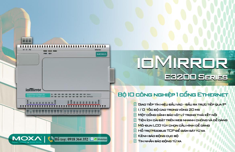 ioMirror E3210: Bộ IO công nghiệp 1 cổng Ethernet giá rẻ, Đại Lý Moxa Việt Nam